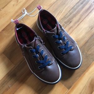 Cat and Jack brown leather zip toddler boy shoes